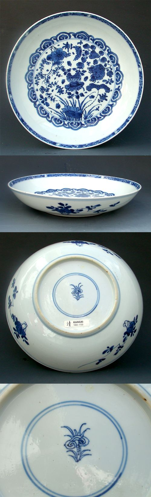 Collection Chinese blue and white porcelain bowl of peach flowers bat
